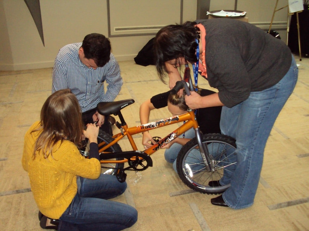 Biogen Team Building a Bike in Boston