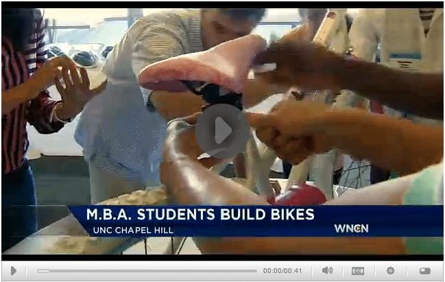 WNCN News Story about Build-A-Bike at University of North Carolina