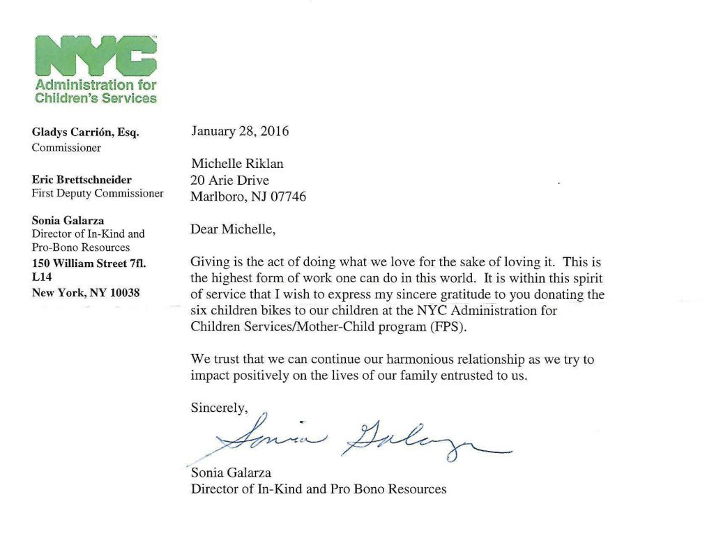 Kind Note from a New York City Charity