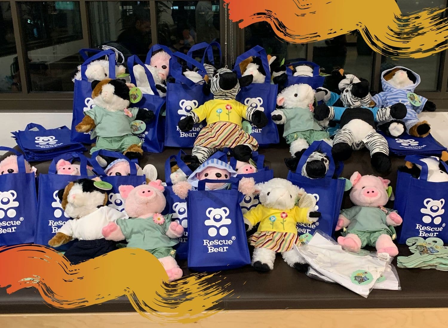 A bundle of charity teddy bears being donated during The Leaders Institute event.