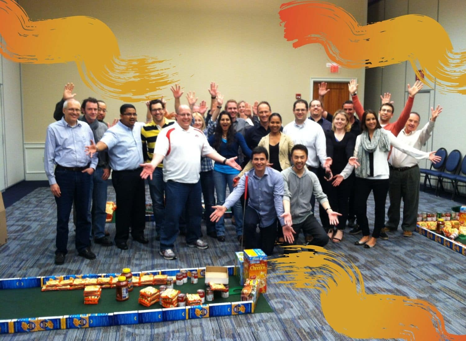 A group of employees enjoy an Ace Race team bonding activity.